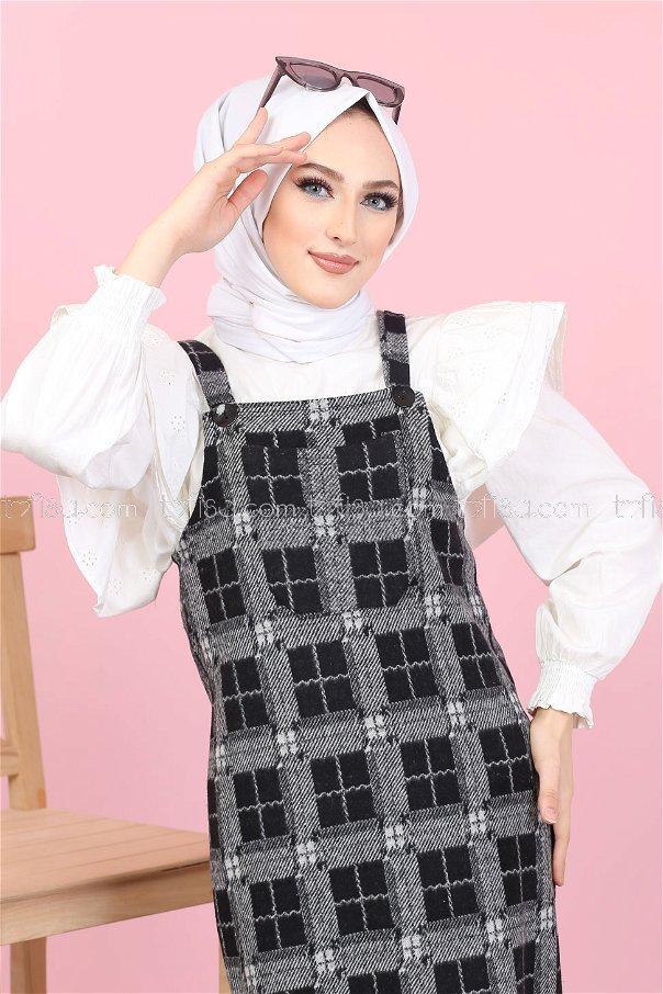 فستان بحمالات مربعات رصاصي اسود - 3010