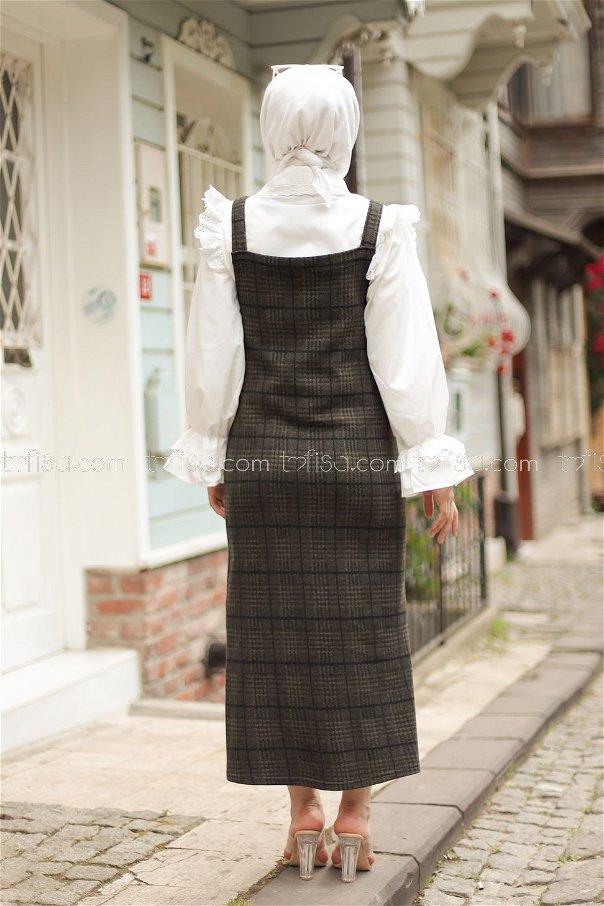فستان بحمالات مربعات زيتي اسود - 3010