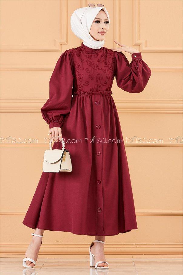 فستان لون خمري 30163