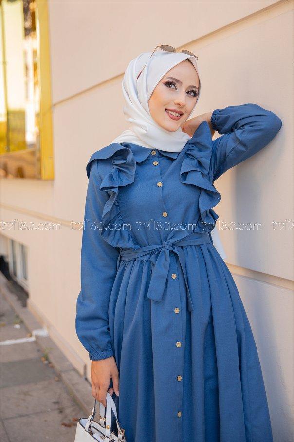 فستان لون ازرق داكن 3127