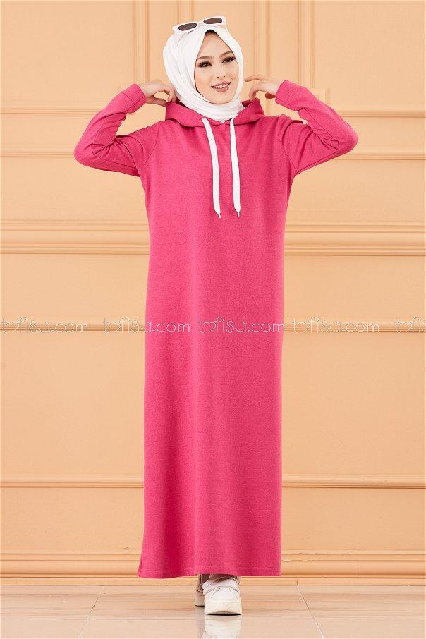 فستان مخطط مزود كابيشون لون فوشي 3227
