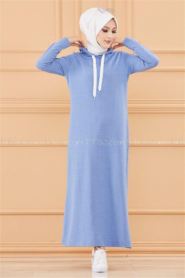 فستان مخطط مزود كابيشون لون ازرق 3227
