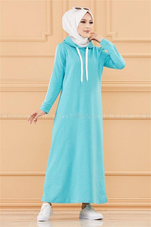فستان مخطط مزود كابيشون لون ازرق فاتح 3227