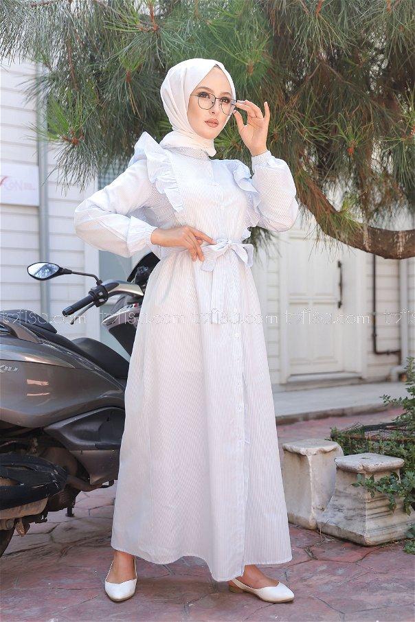 فستان مخطط أزرق فاتح - 3233