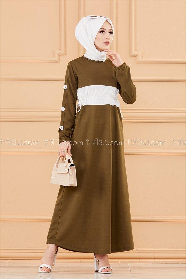 فستان لون زيتي 3280