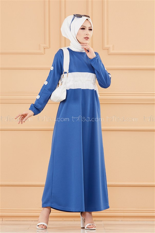 فستان لون ازرق داكن 3280