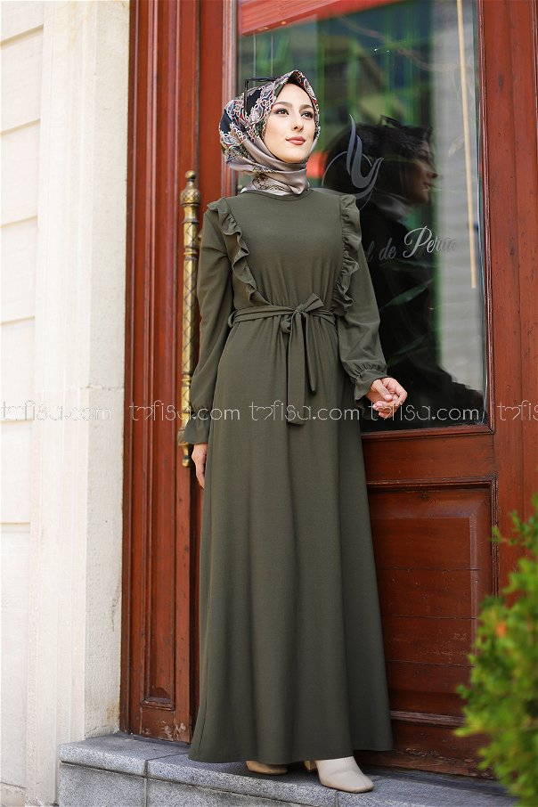 فستان لون زيتي 3291