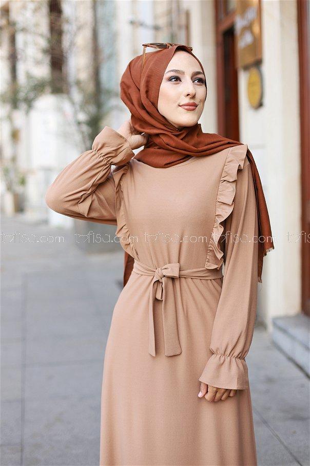 فستان لون بيج 3291