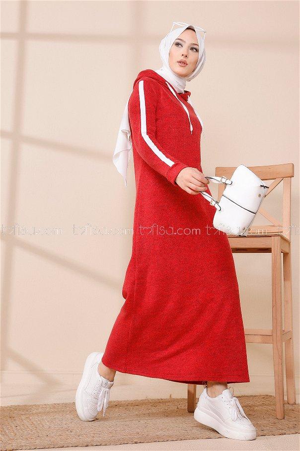 فستان مخطط عند الأكمام أحمر - 3456