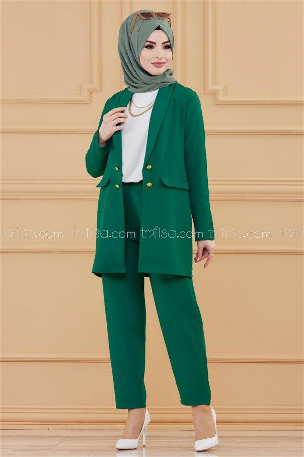 طقم لون اخضر 3501