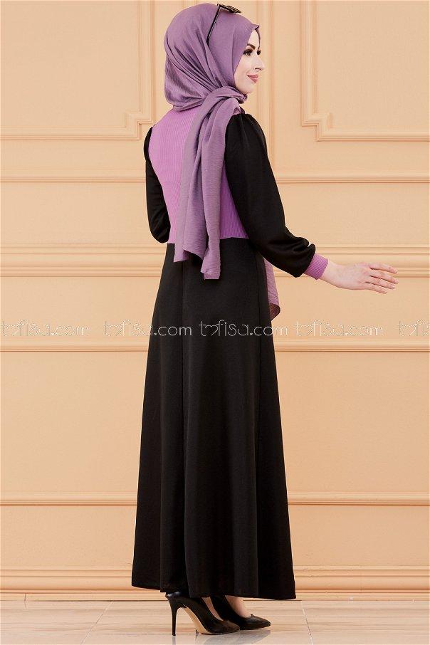 فستان مطرز لون موف 3508