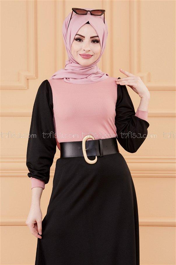 فستان مطرز لون وردي 3508