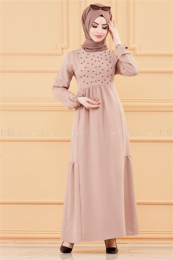 فستان لون بيج 3509