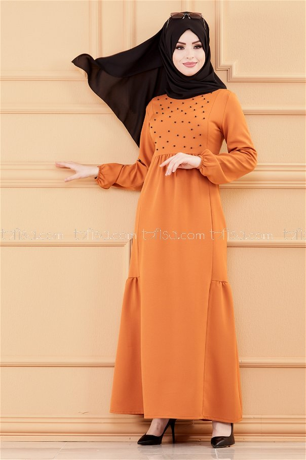 فستان لون قرميد 3509