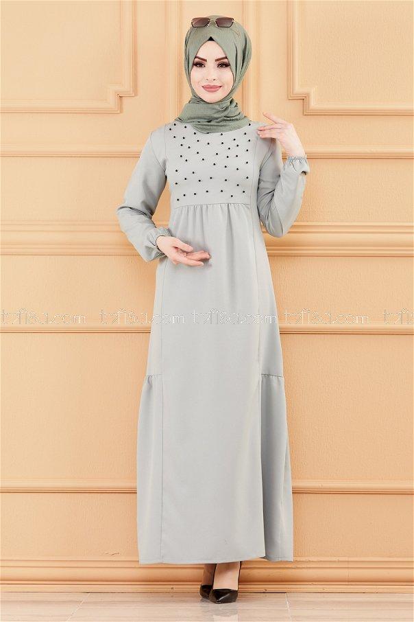 فستان لون ازرق فاتح 3509