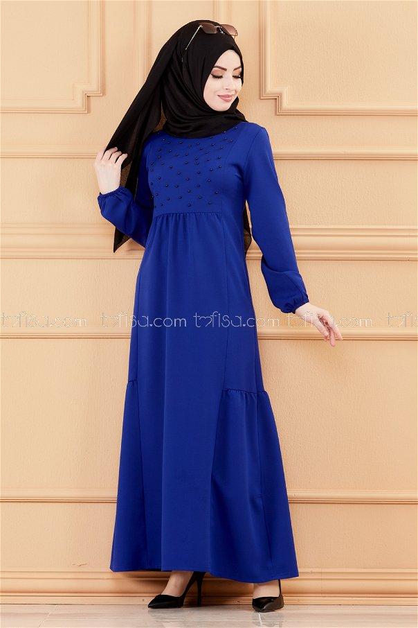 فستان لون ازرق داكن 3509