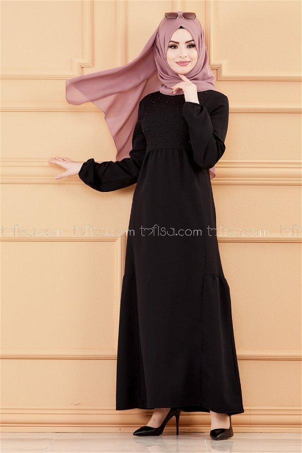فستان لون اسود 3509