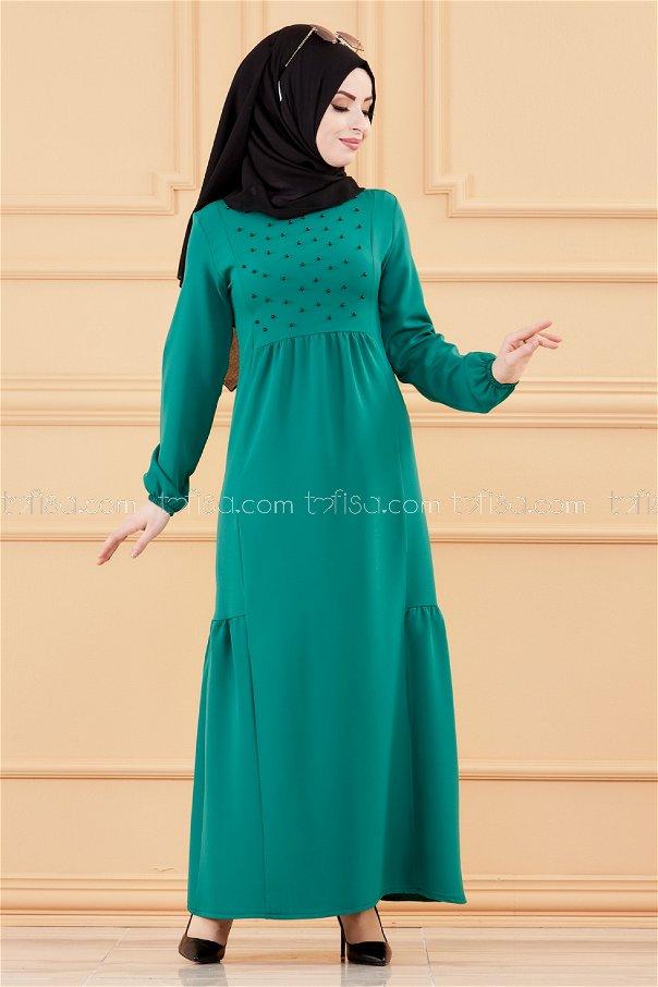 فستان لون اخضر 3509