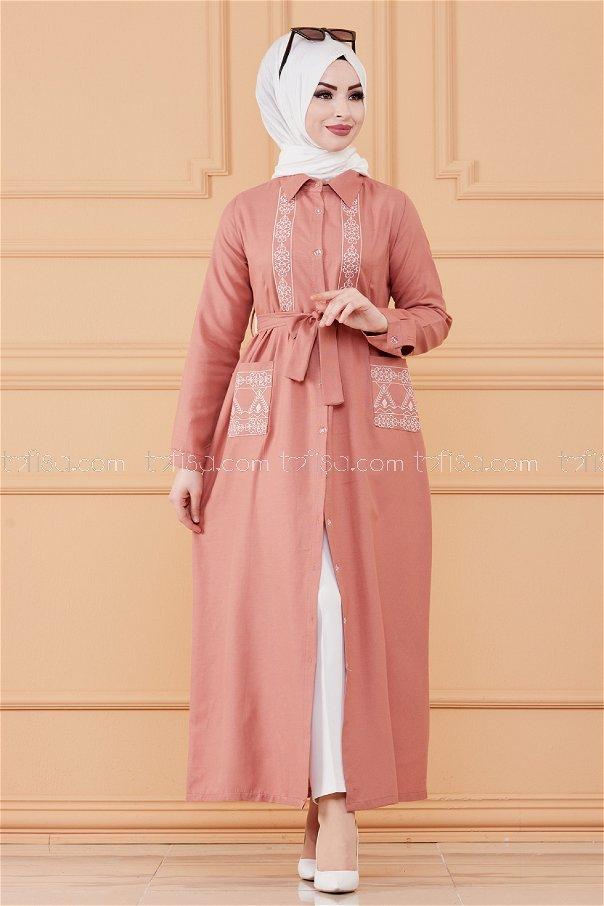 فستان منقوش لون وردي 3531