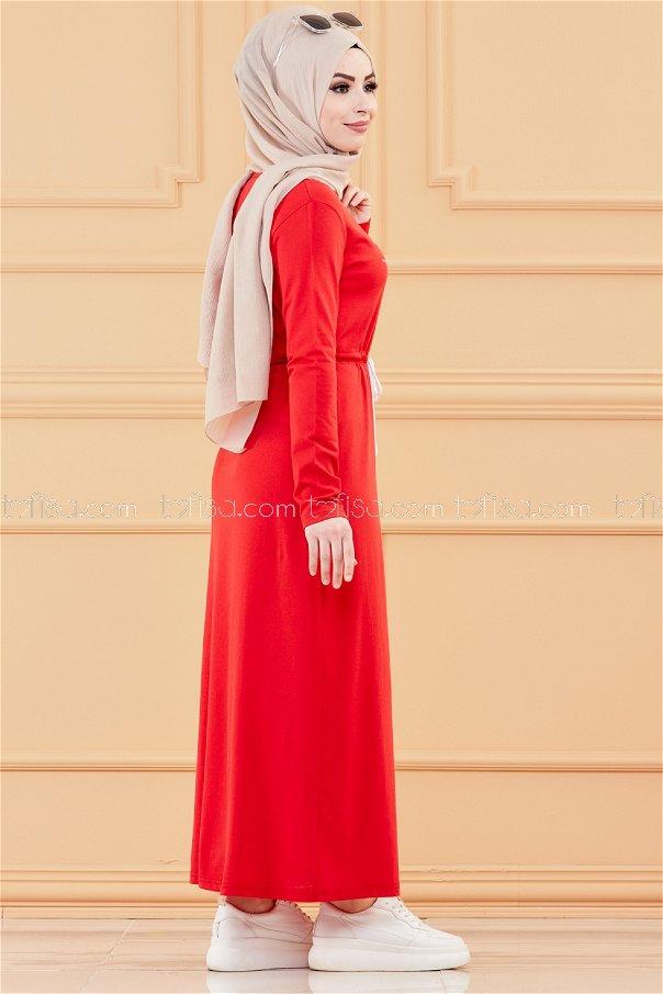 فستان لون احمر 3536