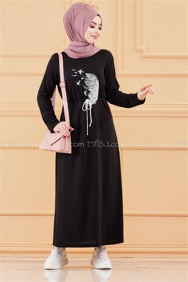 فستان لون اسود 3536