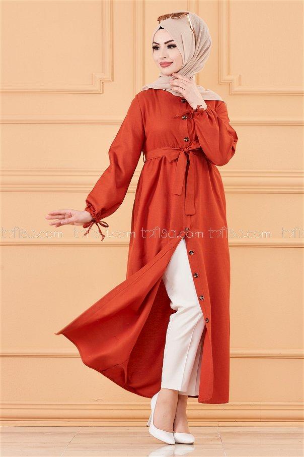فستان لون قرميد 3558
