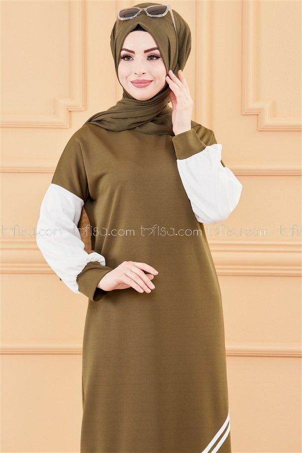 فستان لون زيتي 3569