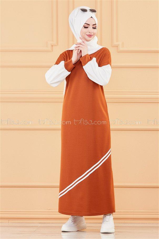 فستان لون قرميد 3569