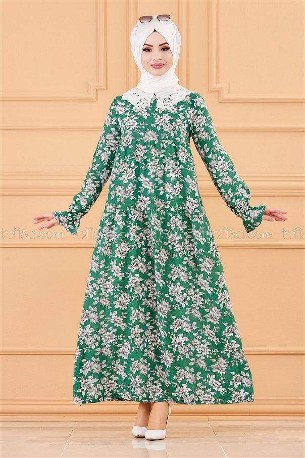 فستان لون اخضر 3570
