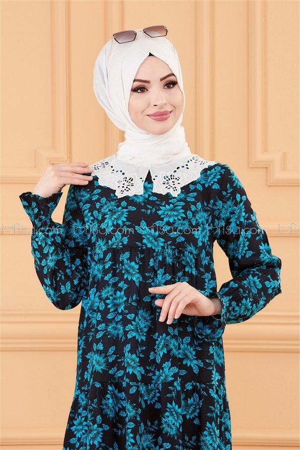فستان لون ازرق داكن 3570