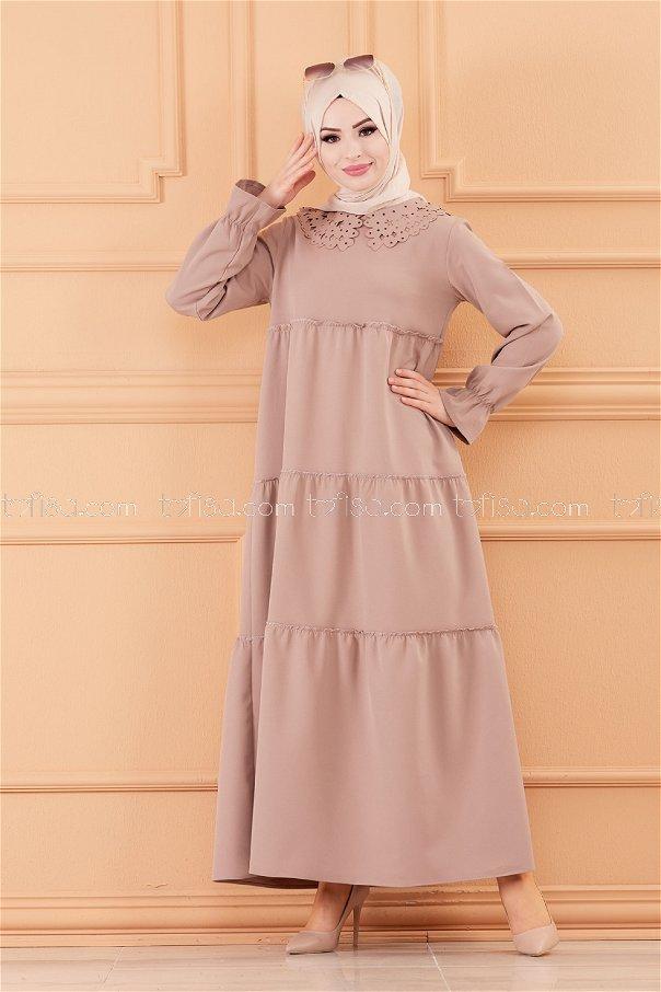 فستان لون بيج 3579