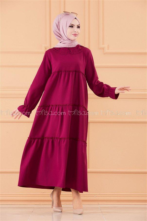 فستان لون موف داكن 3579