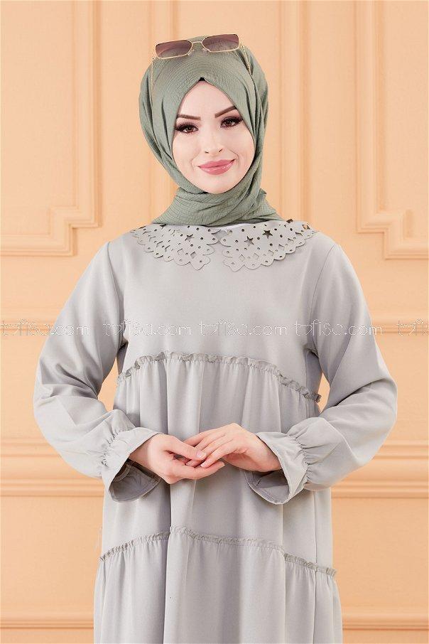 فستان لون ازرق فاتح 3579