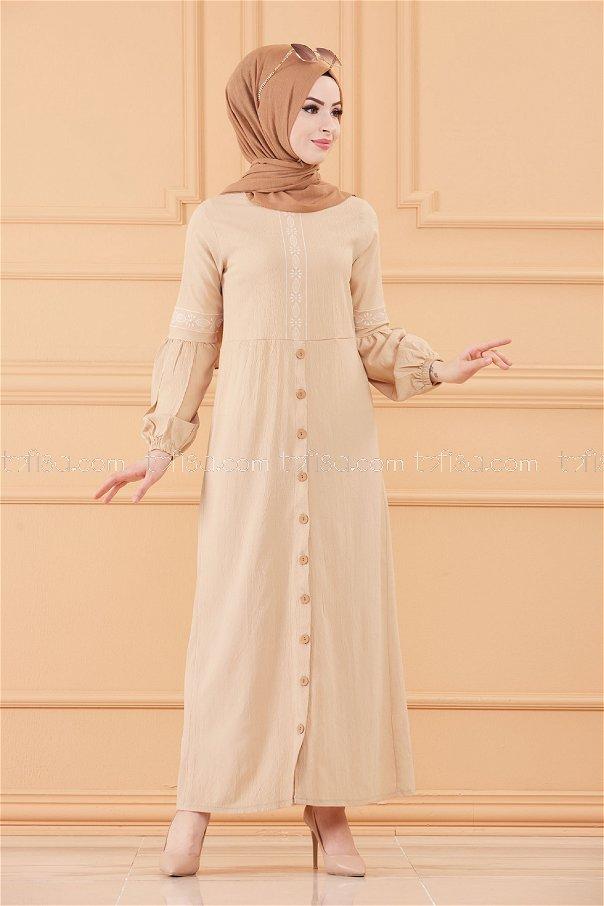فستان مطرز لون حجري 3599