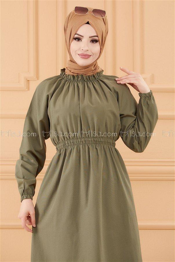 فستان لون زيتي 3636