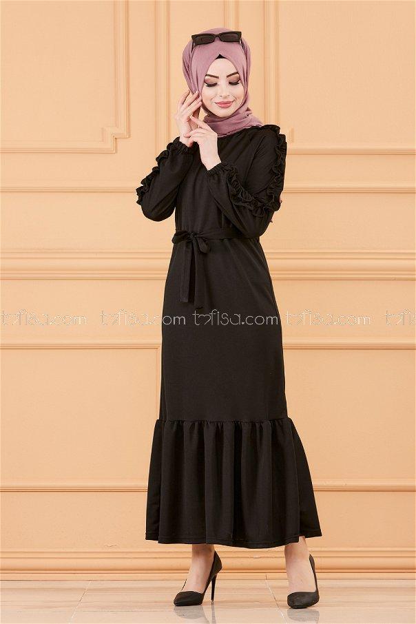 فستان لون اسود 3639