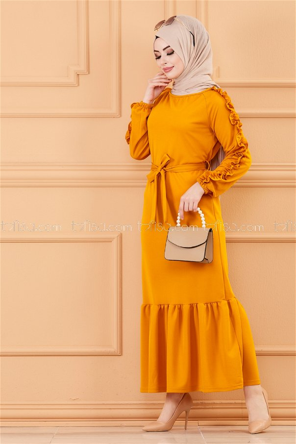 فستان لون خردل 3639