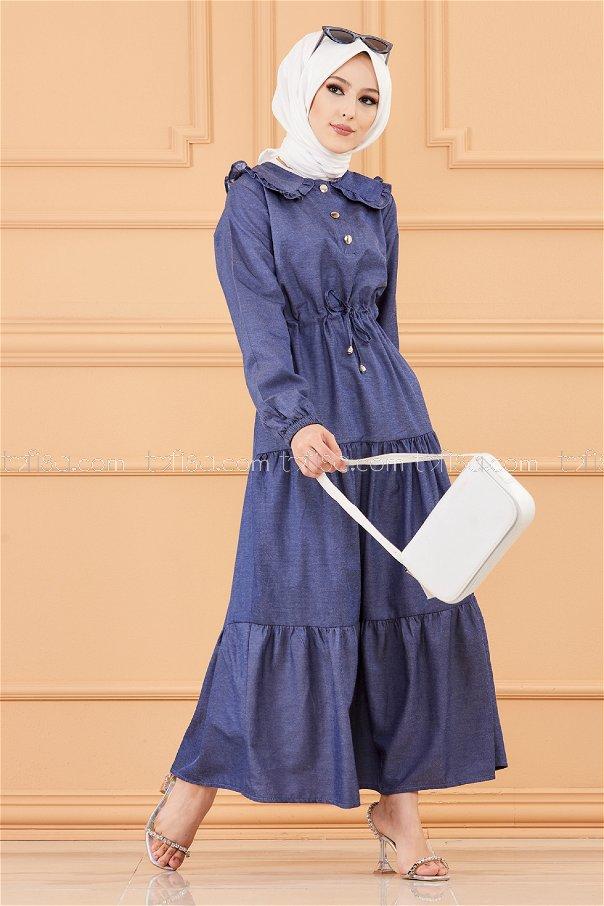 فستان لون كحلي 3653