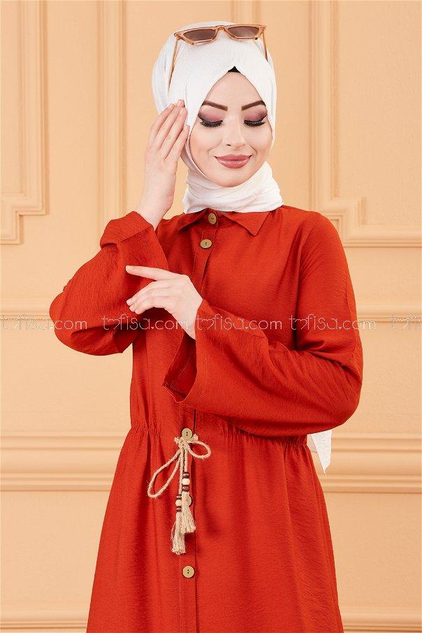 فستان لون قرميد 3657