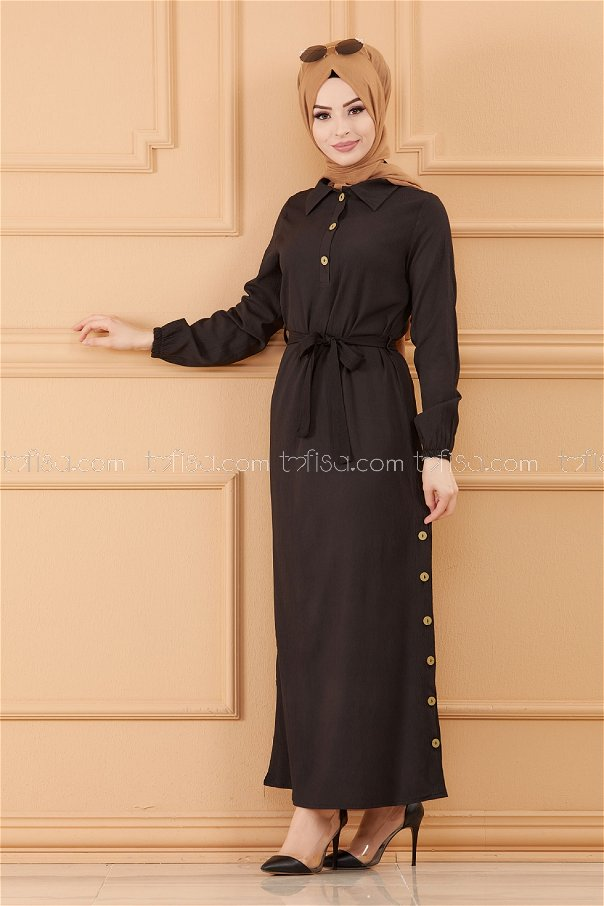 فستان لون اسود 3658