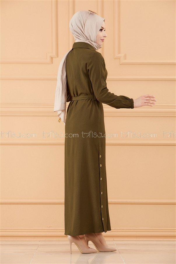 فستان لون زيتي 3658