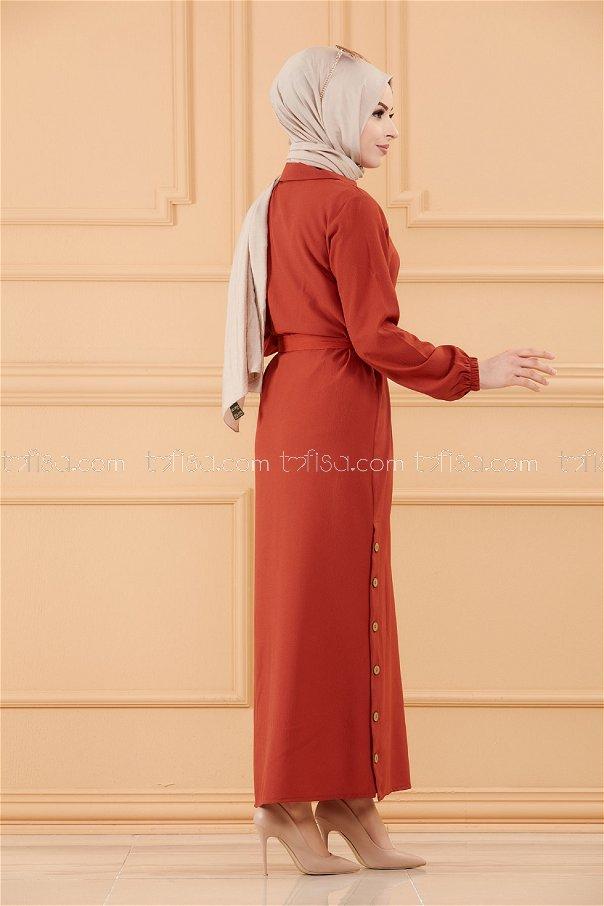 فستان لون قرميد 3658
