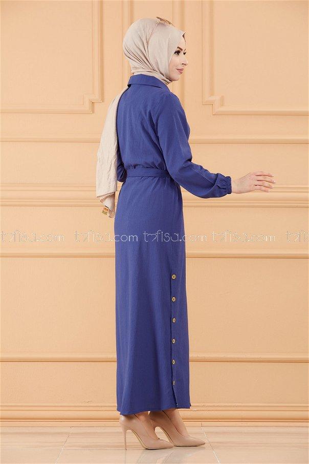 فستان لون ازرق داكن 3658