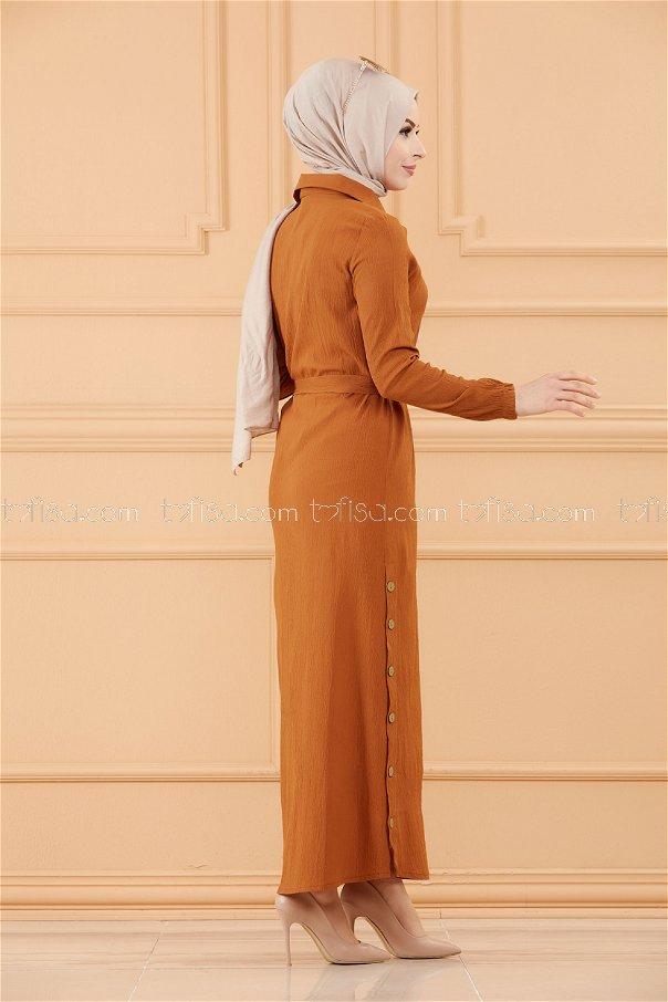 فستان لون بني 3658