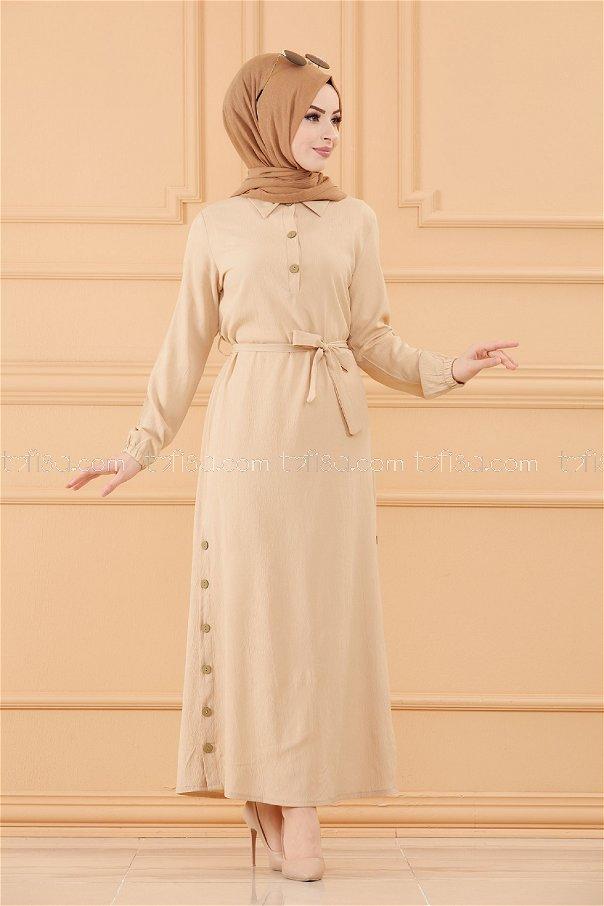 فستان لون حجري 3658