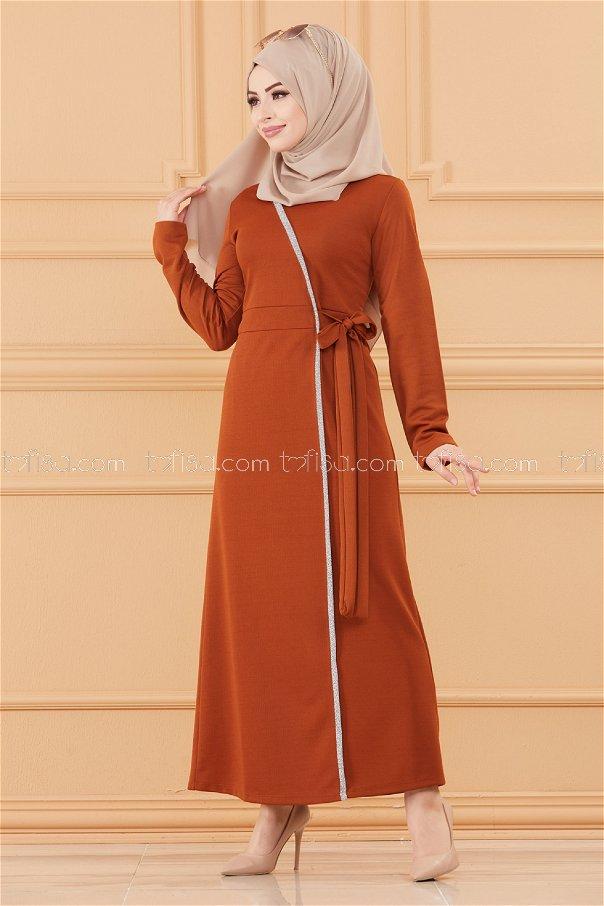 فستان لون قرميد 3667