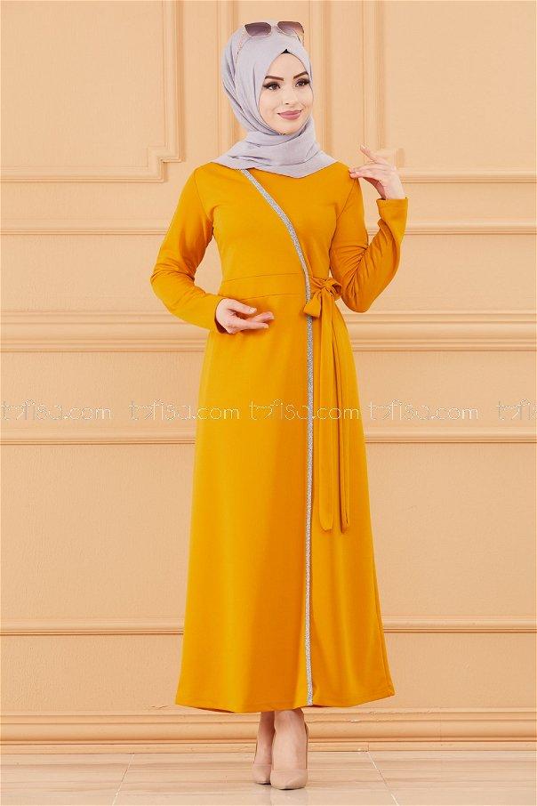 فستان لون خردل 3667
