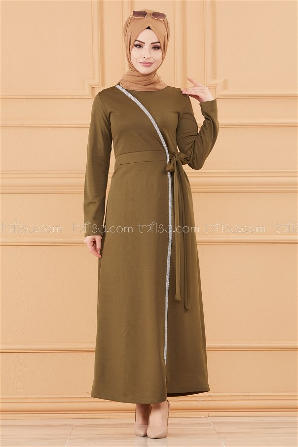 فستان لون زيتي 3667