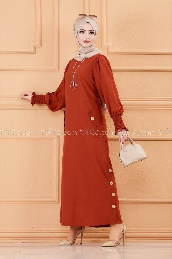 فستان لون قرميد 3669