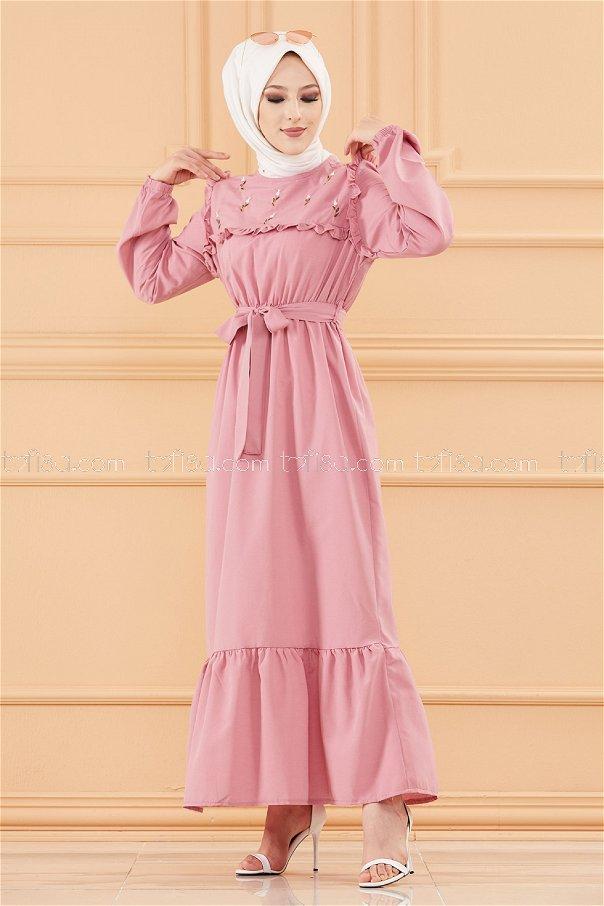 فستان لون وردي 3674